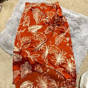 S orange foliage wrap skirt